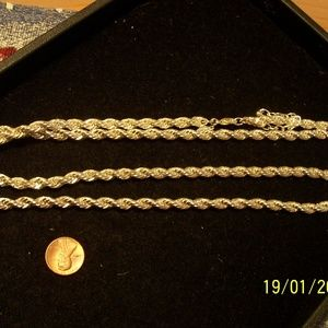 JOAN RIVERS 1 STRAND SILVER ROPE NECKLACE 36 IN